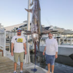2021 - 391 lb Swordfish caught on Mo Cuisle.  Picture L to R, Tre Still and Wade Copeland