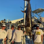 2021 - ORC record 391 lb swordfish caught on Mo Cuisle.  Pictured L to R, Bud Copeland, Guy Lipscomb, Wade Copeland, Tre Still.